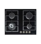 Premium Gas on Glass Cooktop with Flame Device and Wok Burner – 610mm Model GOG-60-LX