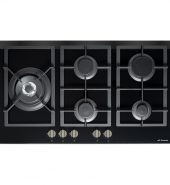 Premium Black Gas-OnGlass Cooktop Flat Trivet Supports + Side Wok – 870MM Model GOG-90-LX