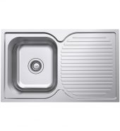 Polished Single Bowl Kitchen Sink and Drainer – 780mm – Left Hand Bowls Right Hand Drainer Model POL-100A