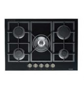 Premium Black Gas-On-Glass Cooktop with Flat Trivet Supports – 700MM Model GOG-70-LX