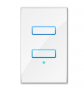 WHITE WIFI LIGHT SWITCH TWO-GANG